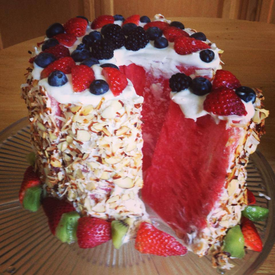"Watermelon Cake. Whipped Cream ""frosting"". Yes (With Various Fruits..."