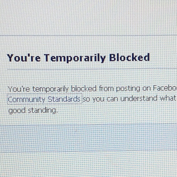 I am banned from Facebook/taking chances